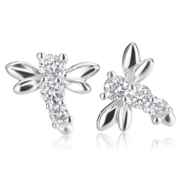 Summerrose 14k White Gold 1 3ct Tdw Diamond Dragonfly Stud Earrings