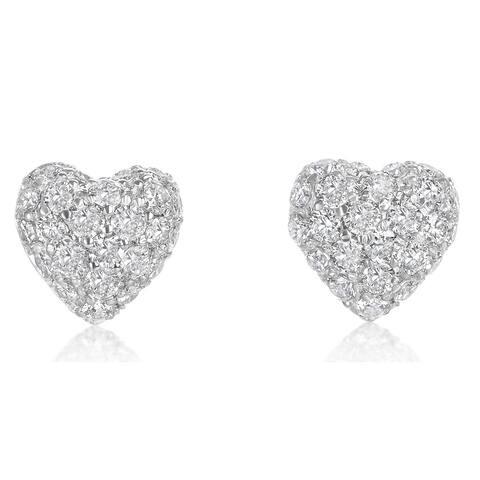 SummerRose 14k white gold Pave Domed Heart Earrings 1.55ct TDW - White H-I