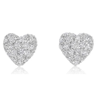 SummerRose, 14k white gold Pave Domed Heart Earrings 1.55cttw (H-I, SI1-SI2)