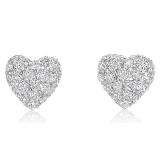 SummerRose, 14k white gold Pave Domed Heart Earrings 1.55cttw