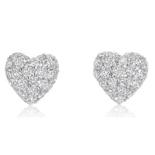 SummerRose 14k white gold Pave Domed Heart Earrings 1.55ct TDW - White H-I