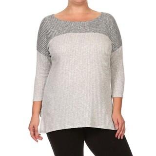 MOA Collection Women's Plus Size Contrast Colorblock Top