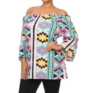 MOA Collection Women's Plus Size Aztec Print