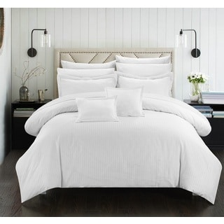 Chic Home 11-Piece Keynes Down Alt Jacquard White Striped Comforter Set