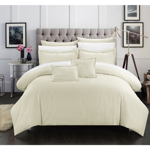 Chic Home Keynes Down Alt Jacquard Beige Striped 11-Piece Bed in a Bag with Sheet Set