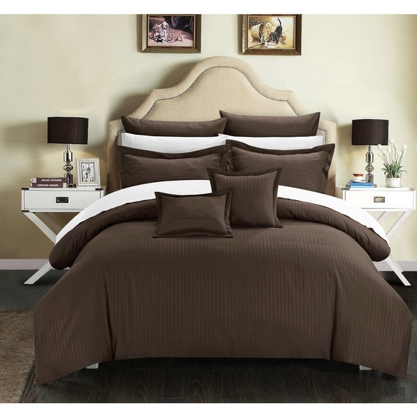 Chic Home 11-Piece Keynes Down Alt Jacquard Brown Striped Comforter Set
