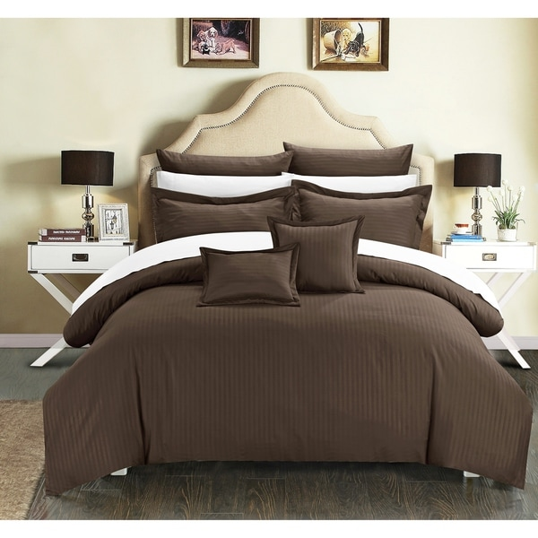 Chic Home 11-Piece Keynes Down Alt Jacquard Brown Striped Comforter Set