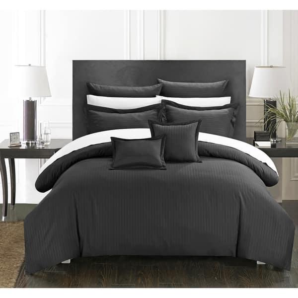 Chic Home 11 Piece Keynes Down Alt Jacquard Black Striped Comforter Set On Sale Overstock 10953292