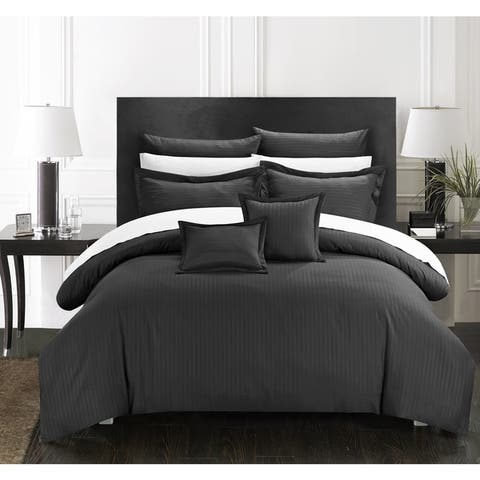 Chic Home 11-Piece Keynes Down Alt Jacquard Black Striped Comforter Set