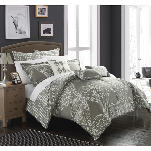 Chic Home Perugia Silver Oversized Reversible 8-piece Comforter Set