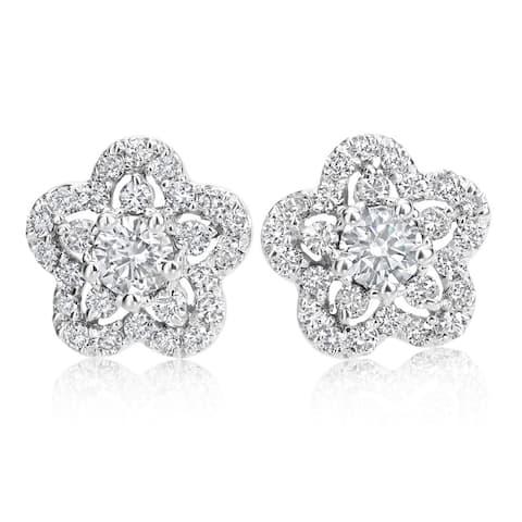 SummerRose, 14k White Gold Diamond Flower Earrings 1.00cttw - White H-I