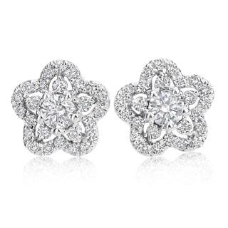 SummerRose, 14k White Gold Diamond Flower Earrings 1.00cttw