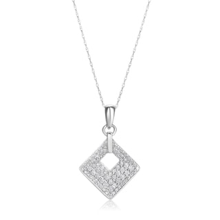 Summerrose, 14k White gold Diamond Pendant with white gold chain 1/2ct TDW (H-I, SI1-SI2)