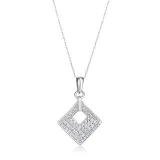 Summerrose, 14k White gold Diamond Pendant with white gold chain 1/2ct TDW