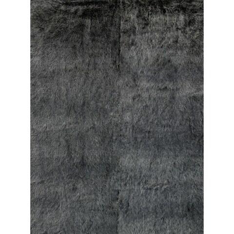 Silver Orchid Martin Faux Fur Black/ Charcoal Shag Area Rug - 2' X 3'