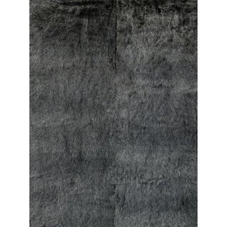Faux Fur Black/ Charcoal Shag Rug (2'0 x 3'0)