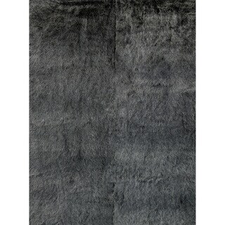 Silver Orchid Martin Faux Fur Black/ Charcoal Shag Area Rug - 2' X 3'