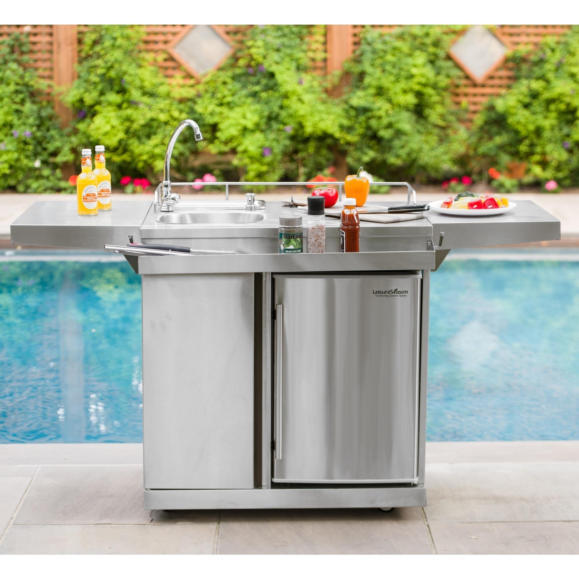 Outdoor Kitchen Cart & Beverage Center With Fridge & Sink