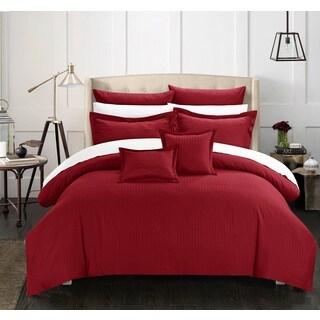 Chic Home 7-Piece Keynes Down Alt Jacquard Burgundy Striped Comforter Set