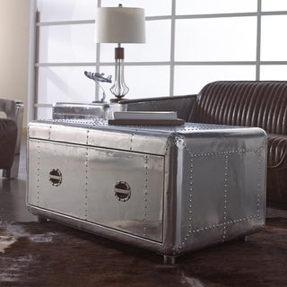 Lazzaro Leather Lindbergh Bomber Coffee Cocktail Table