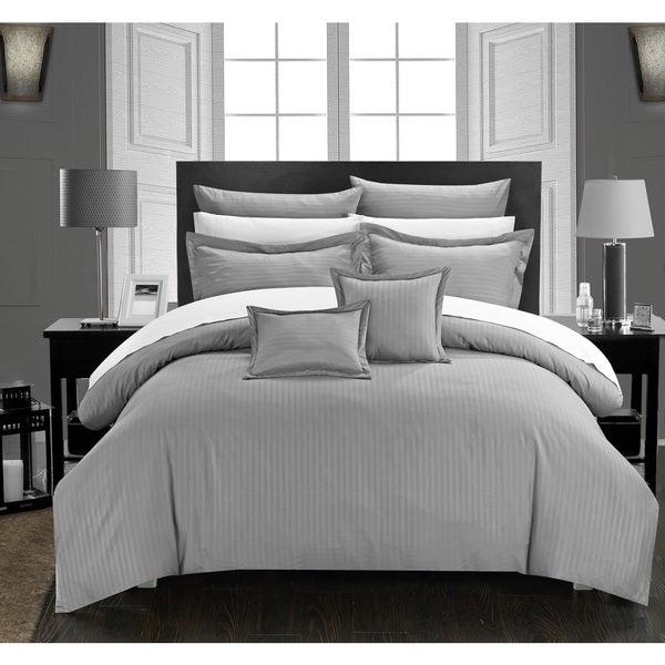 Chic Home 11-Piece Keynes Down Alt Jacquard Silver Striped Comforter Set