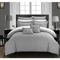 Chic Home 11-Piece Keynes Down Alt Jacquard Silver Striped Comforter Set