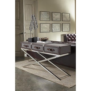 Lazzaro Leather Hamilton Stainless Steel Base Console