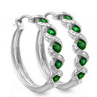 Sterling Silver Diamond and Green Emerald Hoop Earrings ( I-J,I2-I3)