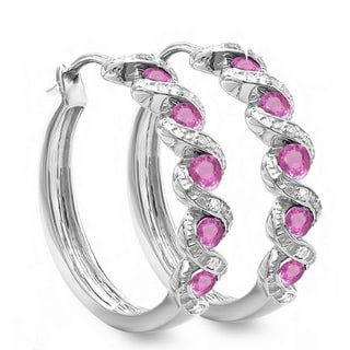 Sterling Silver 7/8ct TDW White Diamond and Pink Sapphire Hoop Earrings (I-J, I2-I3)