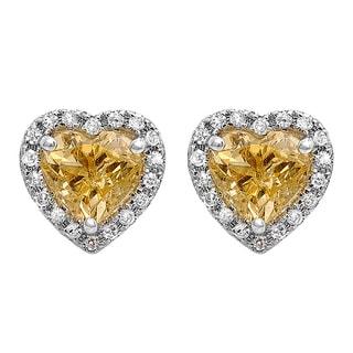 10k White Gold Citrine and 1/4ct TDW Diamond Heart Halo Stud Earrings (I-J, I2-I3)
