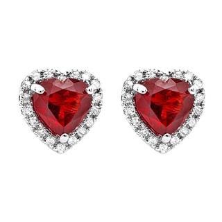 Elora 10k White Gold Garnet and 1/4ct TDW Diamond Heart Halo Stud Earrings (I-J, I2-I3)