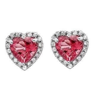 Elora 10k White Gold Pink Tourmaline and 1/4ct TDW Diamond Heart Halo Stud Earrings (I-J, I2-I3)
