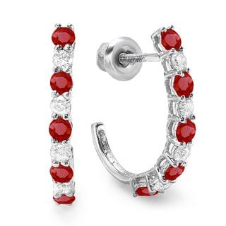 Elora 10k White Gold Ruby and 1/2ct TDW Diamond Fancy J Shaped Hoop Earrings (I-J, I2-I3)