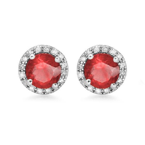Elora 14K White Gold Ruby and 2ct TDW Diamond Halo Style Stud Earrings (H-I, I1-I2)