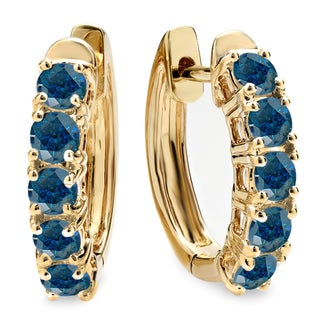 Elora 14k Yellow Gold 1ct TDW Blue Diamond Hoop Earrings