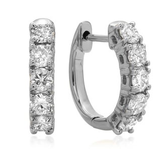 14k White Gold 1/2ct TDW Diamond Hoop Earrings (I-J, I1-I2)