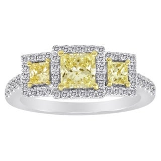 18k Gold 1 3/4ct TDW 3-tone Yellow and White Diamond Engagement Ring (G, SI2)