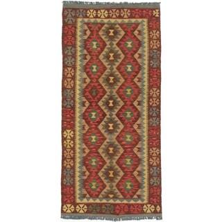 ecarpetgallery Kashkoli Kilim Brown/ Red Wool Kilim Rug (3'3 x 6'11)
