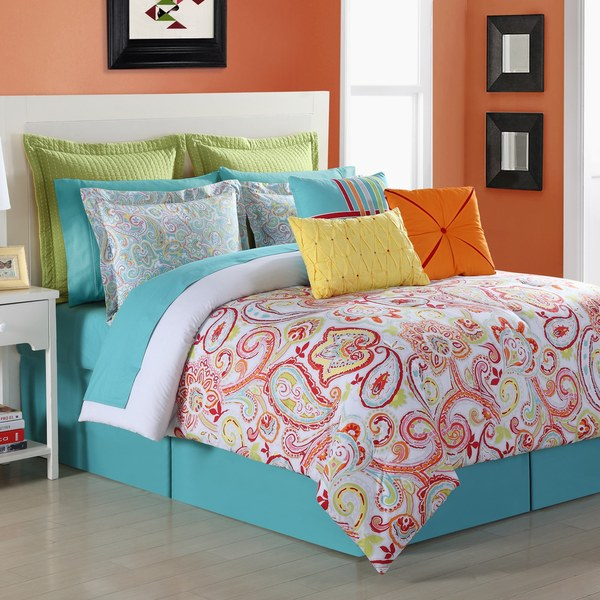 Torrance Cotton Paisley Comforter Set with Bedskirt by Fiesta