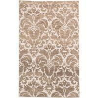 ecarpetgallery La Seda Beige/ Green Wool Art Silk Rug (4'11 x 7'10)