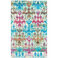 ecarpetgallery Sari Silk Blue/ Green/ Red Sari Silk Rug (5'1 x 8'1)