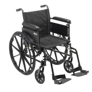 "Cruiser X4 Lightweight Dual-Axle Wheelchair with Adjustable Detatchable Arms (Full Arms, Swing Away Footrests, 20"" Seat)"