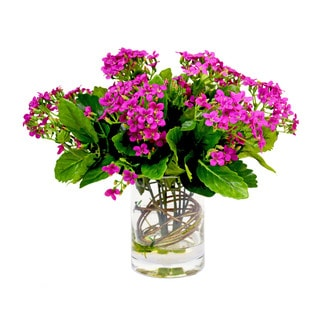Faux Fuchsia Kalanchoe In Acrylic Water-Filled Vase