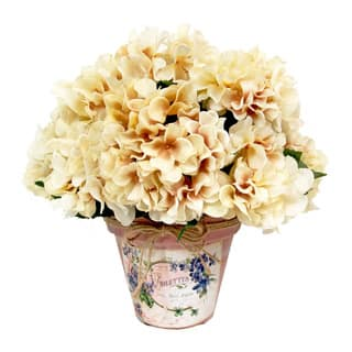 Buy creative displays artificial plants online at overstock cream hydrangea silk bouquet in embellished clay pot mightylinksfo