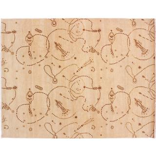 Oushak Jahangir Beige Hand-knotted Rug (8'10 x 11'9)