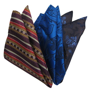Dmitry Men's Italian Patterned Silk Pocket Squares (Pack of 3)