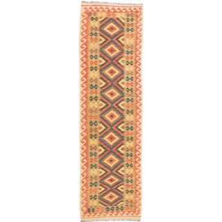 ecarpetgallery Kashkoli Kilim Brown/ Green Wool Kilim Rug (2'9 x 9'5)