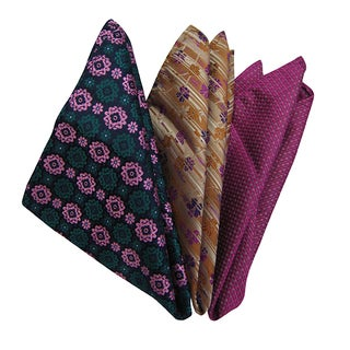 Dmitry Men's Italian Multicolor Silk Pocket Squares (Pack of 3)