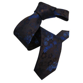 Dmitry Men's Brown Floral Patterned Italian Silk Tie