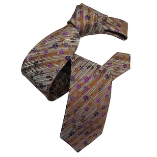 Dmitry Men's Caramel Patterned Italian Silk Tie